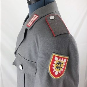 Military Jacket, Grey and Red, Military Patch